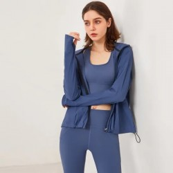 Quick Drying Leisure Hooded Fitness Clothes in Autumn